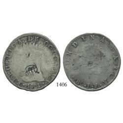 "Quito, Ecuador, 8 reales, ""MDQ"" countermark (Moneda de Quito, 1831) on a Bogota, Colombia (Cundinama"