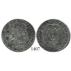 Quito, Ecuador, 2 reales, 1849GJ.