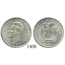 Ecuador (struck in Philadelphia), 2 decimos, 1895, Mint State.