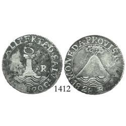 El Salvador, provisional 2 reales, 1828F, rare.