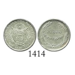 El Salvador, 5 centavos, 1892-CAM, Mint State.