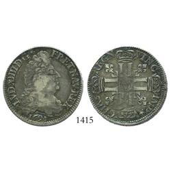 France (Paris mint), 1/2 ecu, Louis XIV, 1691-A.