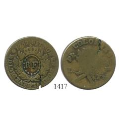 "French Republic, 3 sols 9 deniers, ""RF"" (Republique Francaise) countermark (1790s) on a French colon"