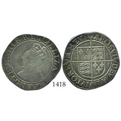 London, England, shilling, Elizabeth I (fifth issue, 1582-1600), bell mintmark.
