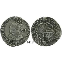 London, England, shilling, Charles I (Tower mint, 1625-43), portcullis mintmark (1633-4)