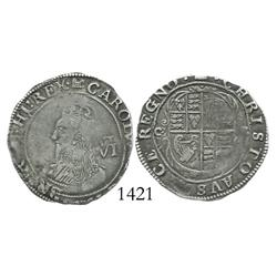 London, England, sixpence, Charles I (Tower mint, 1625-43), portcullis mintmark (1633-4).