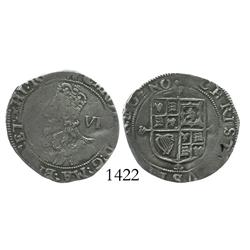 "London, England, sixpence, Charles I (Tower mint, 1625-43), ""Aberystwyth bust,"" anchor mintmark (163"
