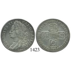 London, England, shilling, 1746, with LIMA below bust of George II as struck from silver captured fr
