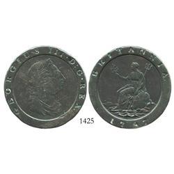 "Great Britain (Soho mint), copper ""cartwheel"" twopence, 1797."