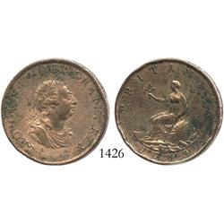 Great Britain (Soho mint), copper halfpenny, 1799.