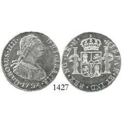 Guatemala, bust 2 reales, Charles IV, 1794M, Mint State.