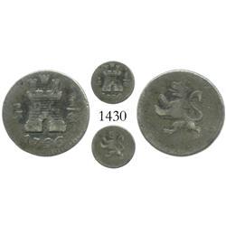 Guatemala, 1/4 real, Charles IV, 1796.