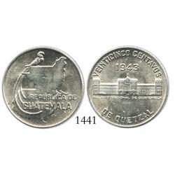 Guatemala (struck in Philadelphia), 25 centavos, 1943, rare grade.