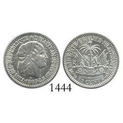 Haiti, 10 centimes, 1887.
