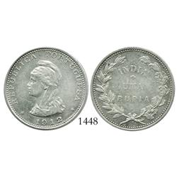 Portuguese India, rupia, 1912/1, rare overdate.