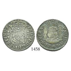 Mexico City, Mexico, pillar 2 reales, Ferdinand VI, 1749M, re-engraved o in mintmark.