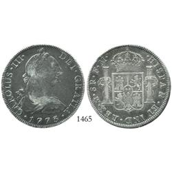 Mexico City, Mexico, bust 8 reales, Charles III, 1773FM.