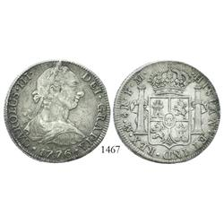 Mexico City, Mexico, bust 8 reales, Charles III, 1776FM, desirable date.