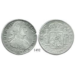 "Mexico City, Mexico, bust 8 reales, Ferdinand VII transitional (""armored bust""), 1810/09HJ."