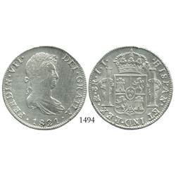 Mexico City, Mexico, bust 8 reales, Ferdinand VII, 1821JJ.