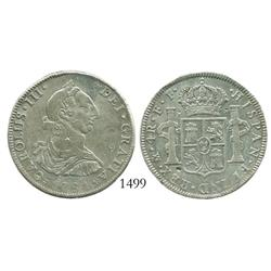Mexico City, Mexico, bust 4 reales, Charles III, 1781FF, rare date.