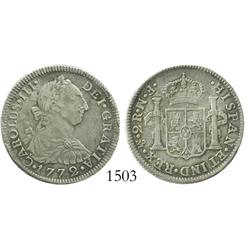 Mexico City, Mexico, bust 2 reales, Charles III, 1772FM, initials facing rim.