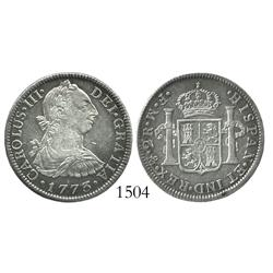 Mexico City, Mexico, bust 2 reales, Charles III, 1773FM, initials facing rim.