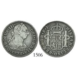 Mexico City, Mexico, bust 2 reales, Charles III, 1778/7FF.