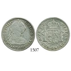 Mexico City, Mexico, bust 2 reales, Charles III, 1782FF.