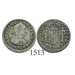 Mexico City, Mexico, bust 1/2 real, Charles III, 1772FM, initials facing rim.