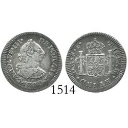 Mexico City, Mexico, bust 1/2 real, Charles III, 1772FF, rare muling.