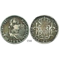 Guadalajara, Mexico (War of Independence), 8 reales, Ferdinand VII, 1821FS, 1-over-2 fleurs-de-lis i