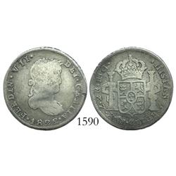 Zacatecas, Mexico (War of Independence), 2 reales, Ferdinand VII, 1822RG.