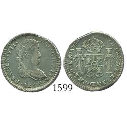 Zacatecas, Mexico (War of Independence), 1 real, Ferdinand VII, 1822AG, assayer unlisted in KM.