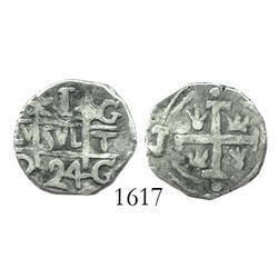 "NOTICE: Granada, Nicaragua, MODERN counterfeit ""imitation cob"" 1 real, 1824"