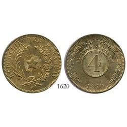 Paraguay, copper 4 centesimos, 1870.