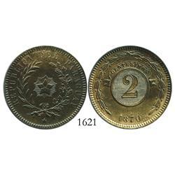 Paraguay, copper 2 centesimos, 1870.