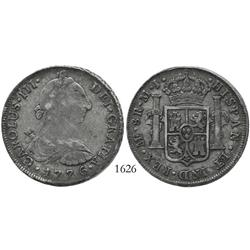 Lima, Peru, bust 8 reales, Charles III, 1776MJ, desirable date.
