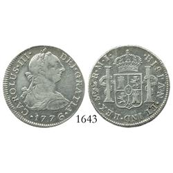 Lima, Peru, bust 2 reales, Charles III, 1776MJ, desirable date.