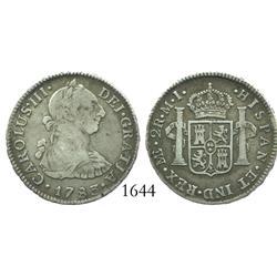 Lima, Peru, bust 2 reales, Charles III, 1783MI.