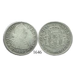Lima, Peru, bust 2 reales, Charles IV, 1792/9IJ.
