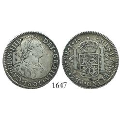 Lima, Peru, bust 2 reales, Charles IV, 1801IJ.