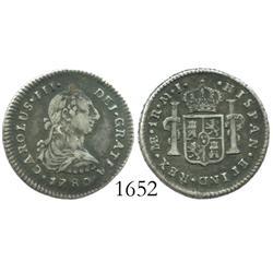 Lima, Peru, bust 1 real, Charles III, 1780MJ.