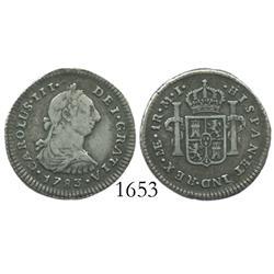Lima, Peru, bust 1 real, Charles III, 1783MI.