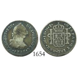 Lima, Peru, bust 1 real, Charles III, 1785MI.