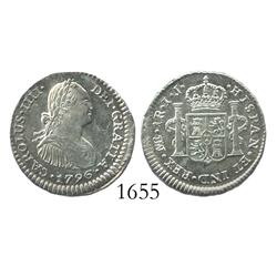 Lima, Peru, bust 1 real, Charles IV, 1796IJ.