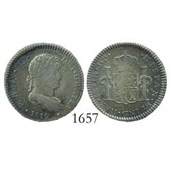 Lima, Peru, bust 1 real, Ferdinand VII, 1819JP.