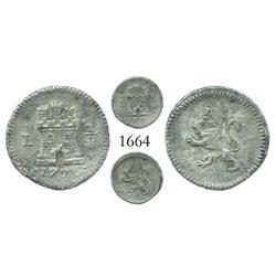 Lima, Peru, 1/4 real, Charles IV, 1796.