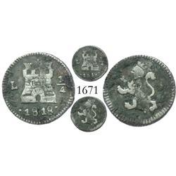 Lima, Peru, 1/4 real, Ferdinand VII, 1818.