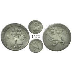 Lima, Peru, 1/4 real, Ferdinand VII, 1820.